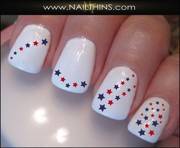 White Nails with Stars. This is all sorts of perfect! I love it, so clever! :)