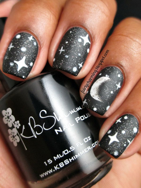50 cool star nail art designs with lots of tutorials and ideas moon and stars nail prinsesfo Choice Image