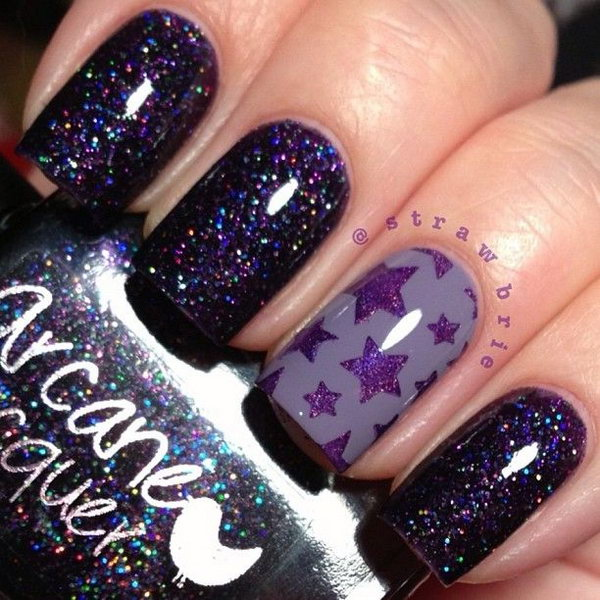 Deep Purple Star Nails - 50+ Cool Star Nail Art Designs With Lots Of Tutorials And Ideas - Hative