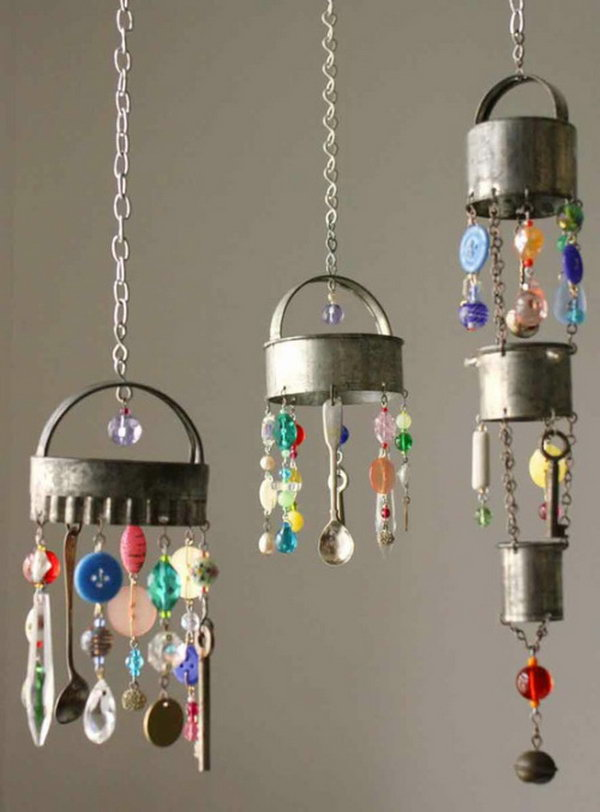 Recycled Silverware and Buttons Wind Chime