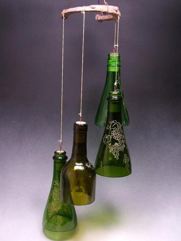 Wine Bottle Wind Chimes.