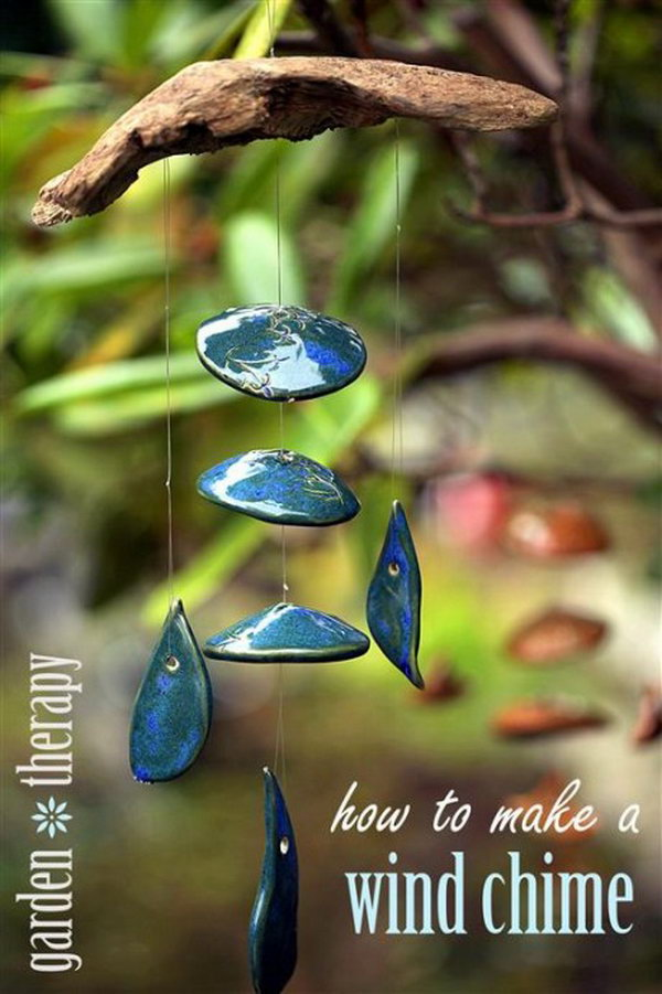DIY Wind Chime Made with Dried Branch and Clay Pendants or Pieces. See the tutorial