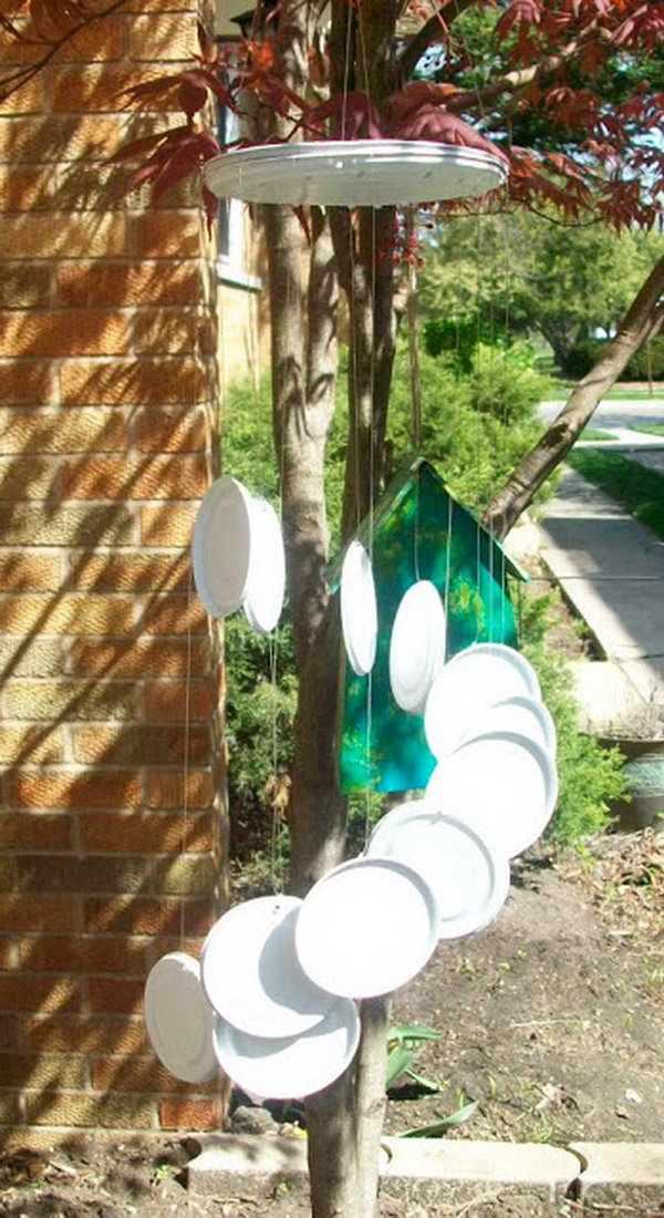 Tin Can Lids Wind Chime. Get the directions