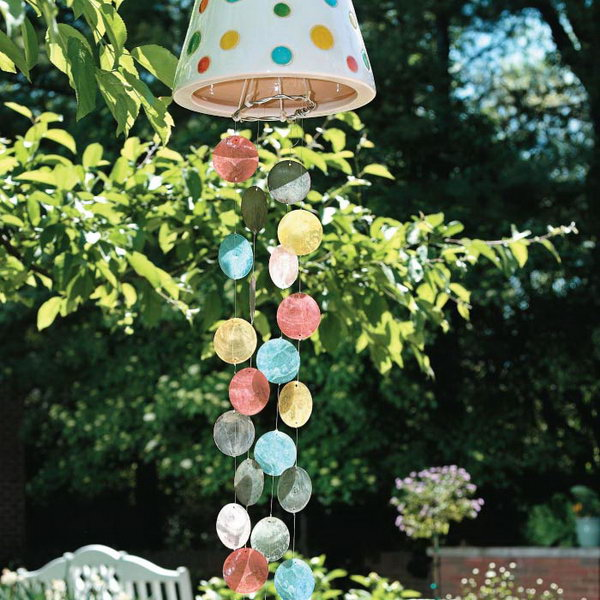 DIY Colorful Wind Chime Made with Glass Shells and Inverted Flower Pot. Get the tutorial