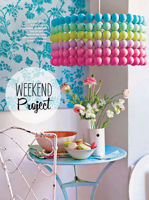 25 fantastic diy chandelier ideas and tutorials hative diy colorful ping pong ball pendant light solutioingenieria Images