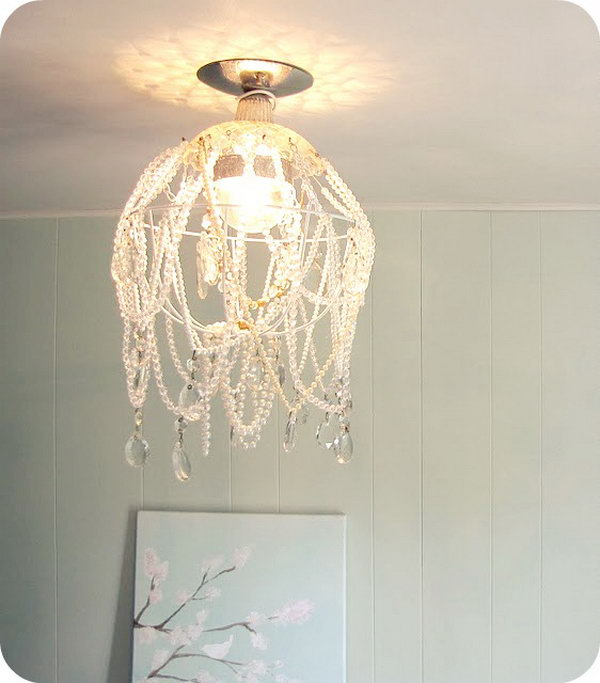 25 fantastic diy chandelier ideas and tutorials hative diy shabby chic crystal chandelier solutioingenieria Images