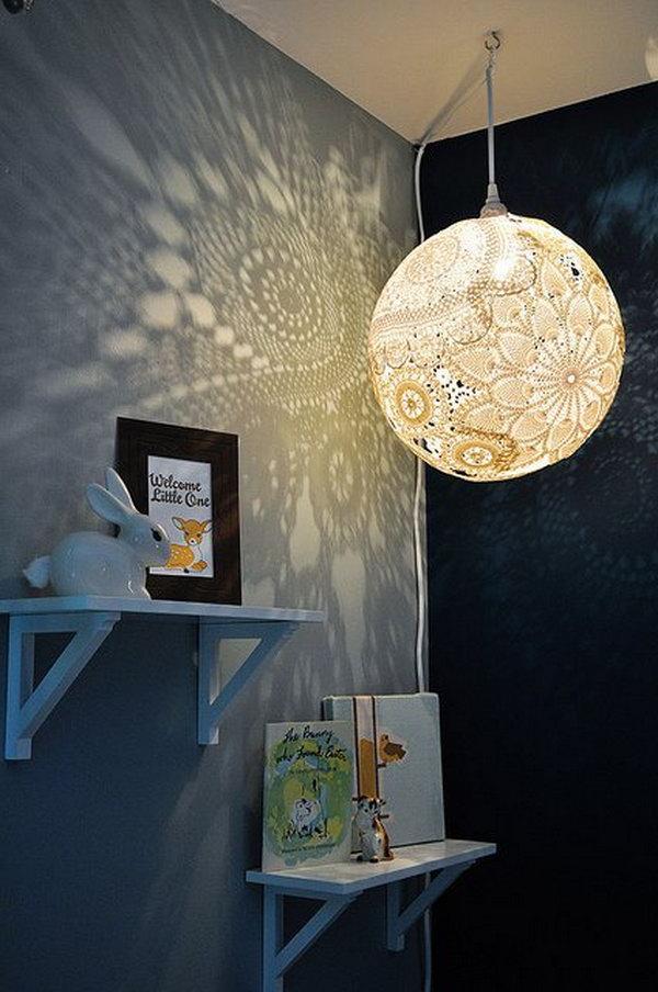 DIY Doily Pendant Light   18 diy chandelier ideas tutorials. 25  Fantastic DIY Chandelier Ideas and Tutorials   Hative