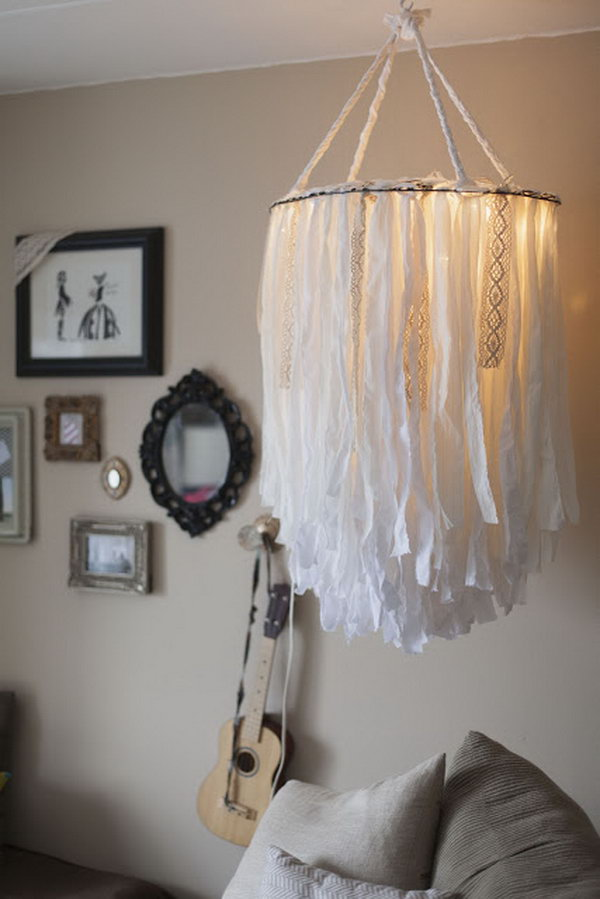 25 fantastic diy chandelier ideas and tutorials hative diy statement cloth chandelier mozeypictures Image collections