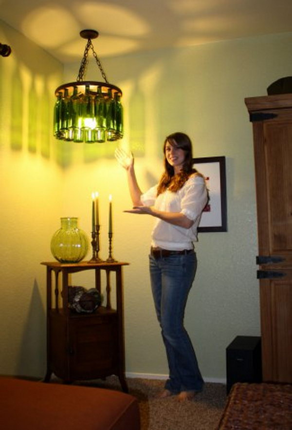 25 fantastic diy chandelier ideas and tutorials hative diy wine bottle chandelier for around 50 aloadofball Choice Image