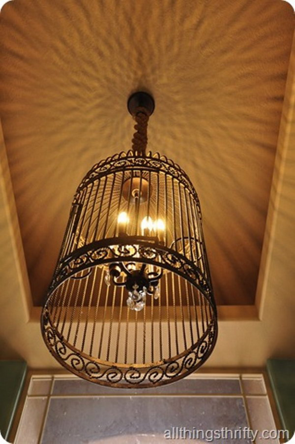 Homemade Chandelier Ideas: DIY Gorgeous Birdcage Chandelier from a Large Birdcage,Lighting