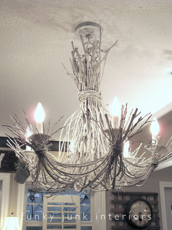 DIY Shabby Chic White Twig Chandelier