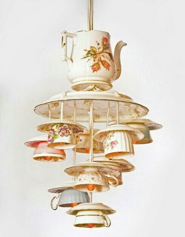 25 fantastic diy chandelier ideas and tutorials hative antique pendant lights made from recycling tea cups and tea pots mozeypictures Gallery
