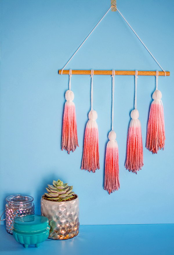 Dip Dye Yarn Tassel Wall Hanging. See how
