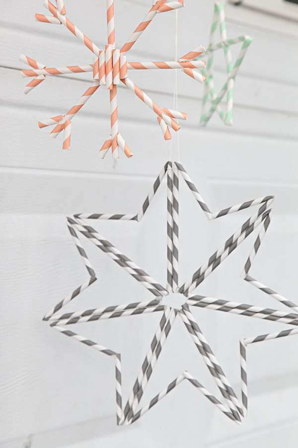 Paper Straw Snowflakes for Decoration. Get the directions