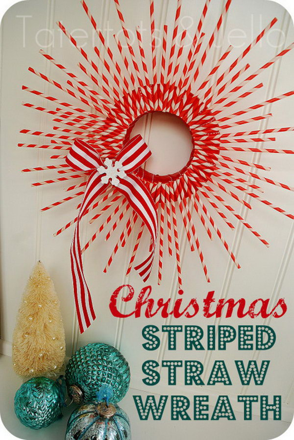 Striped Paper Straw Wreath. Get the tutorial