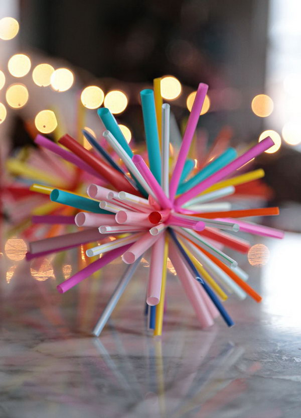 Starbursts Made from Drinking Straws and Zip Ties. Get the tutorial