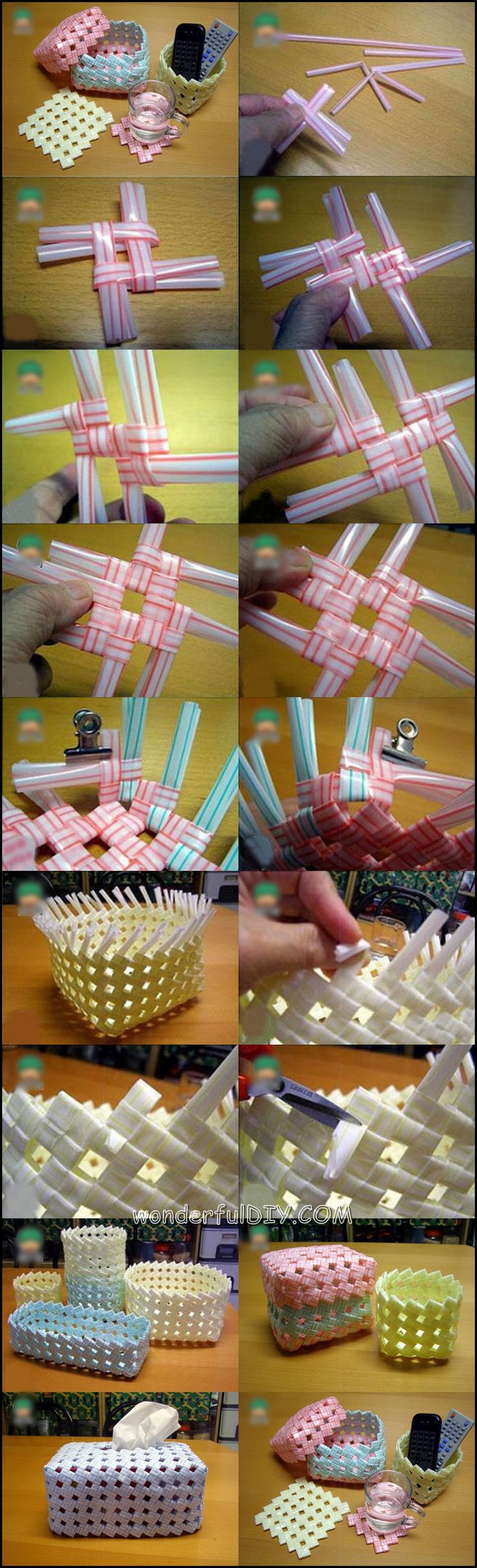 DIY Creative Drinking Straw Basket. See the tutorial