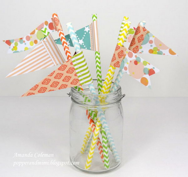 Paper Straw Flags. See the steps