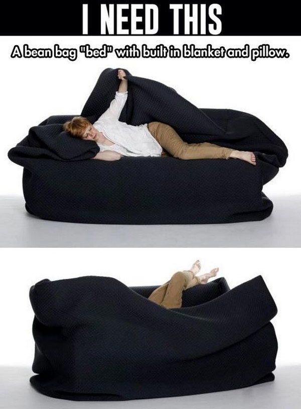 Bean bag Style Couch with Built in Pillow and Blanket.