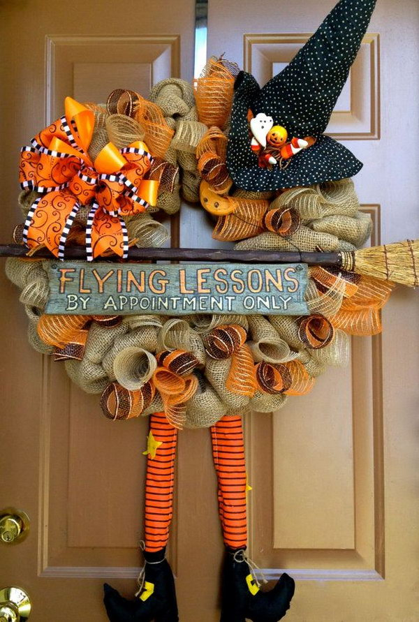 Cute DIY Witch Wreath Tutorials &amp Ideas For Halloween  Hative - Cute Witch Decorations