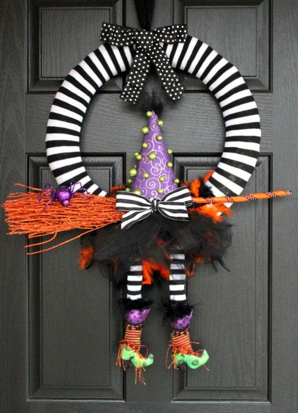 DIY Cute Sock Witch Wreath.