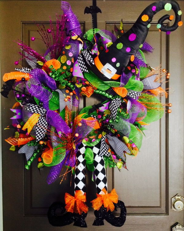 Halloween Deco Mesh Witch Wreath.