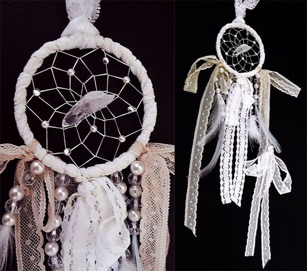Fancy Lace and Pearl Dream Catcher.