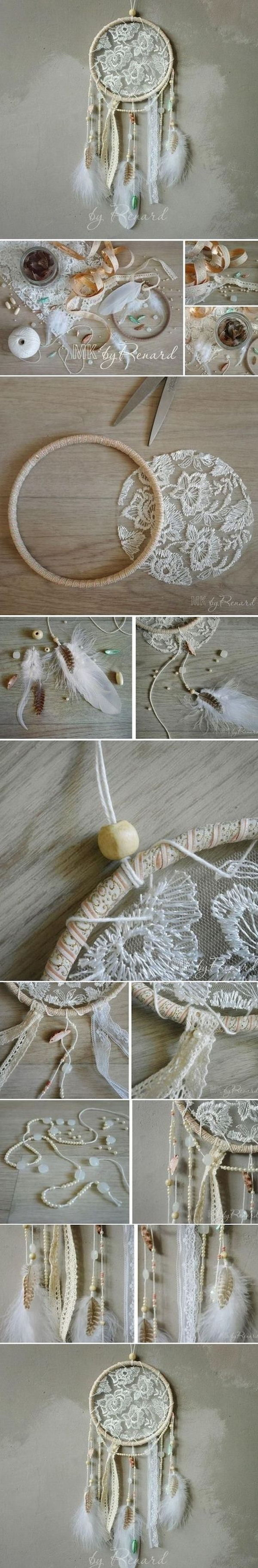 DIY Lace and Feather Dream Catcher.