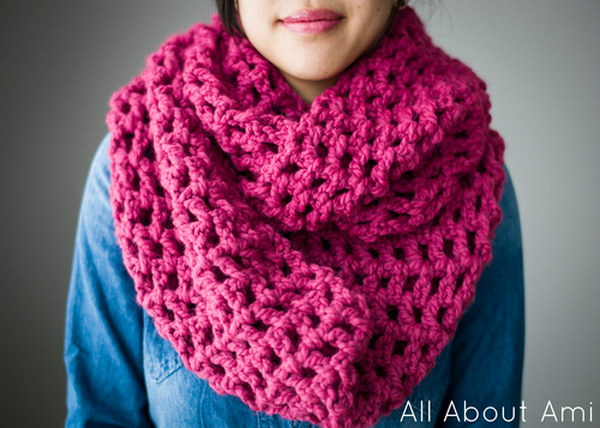 Long Double Crochet Cowl.