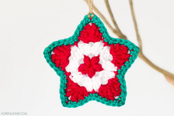Crochet Star Christmas Ornament.