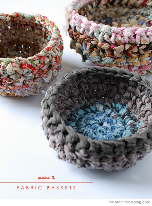 Cute Crochet Fabric Baskets.