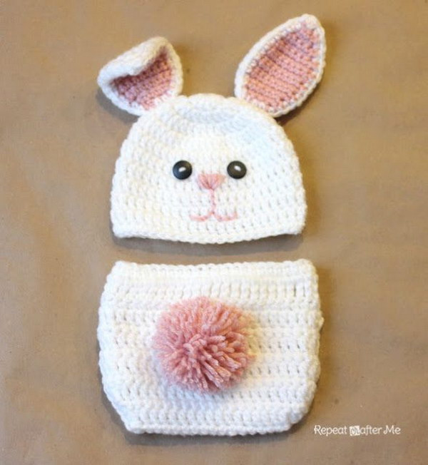 Crochet Fuzzy Baby Bunny Outfit.