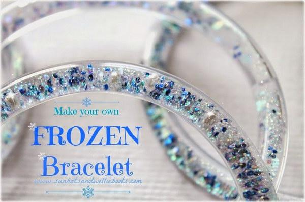DIY Frozen Glitter Vinyl Tube Bracelets