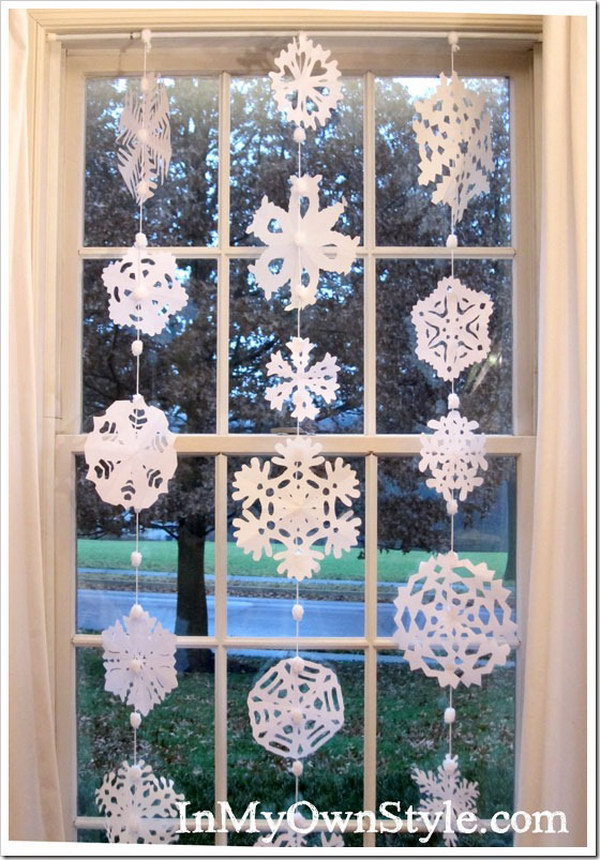 DIY Hanging Paper Snowflake Window Treatment.