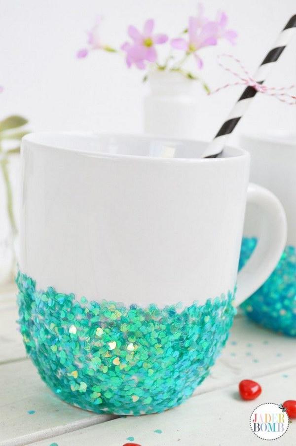 DIY Glittered Mug.