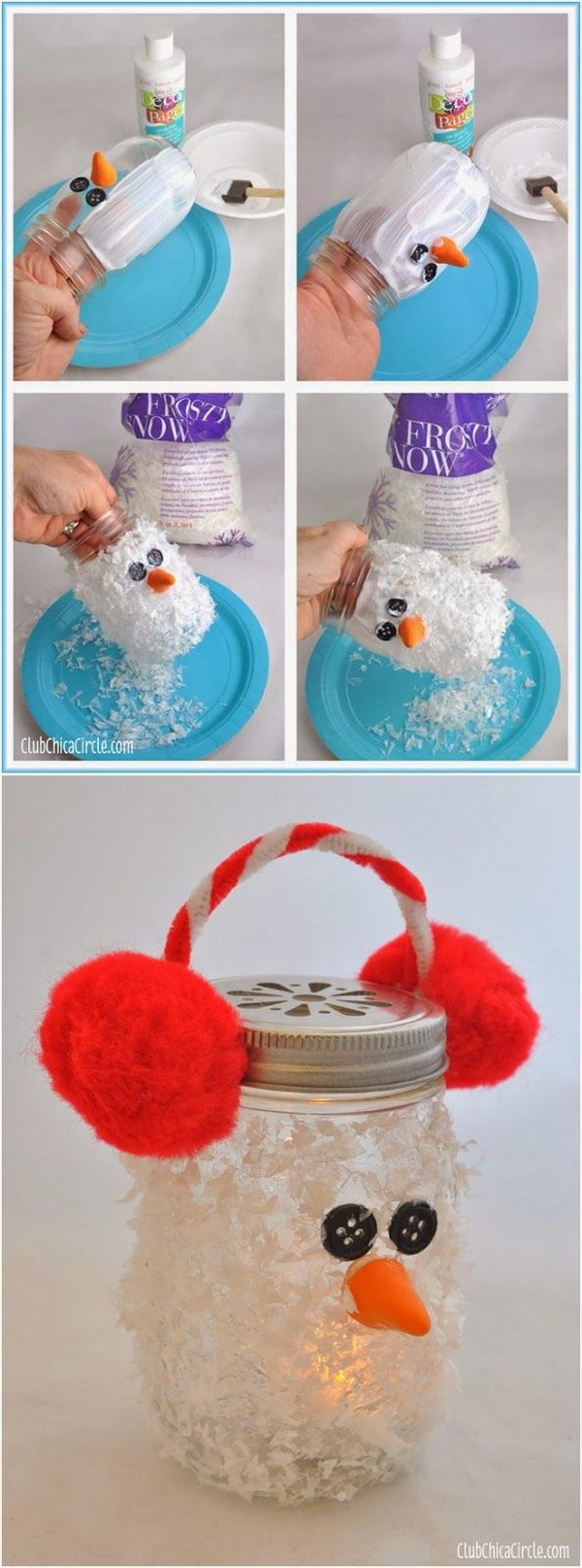 DIY Snowman Mason Jar Luminary Ornament.