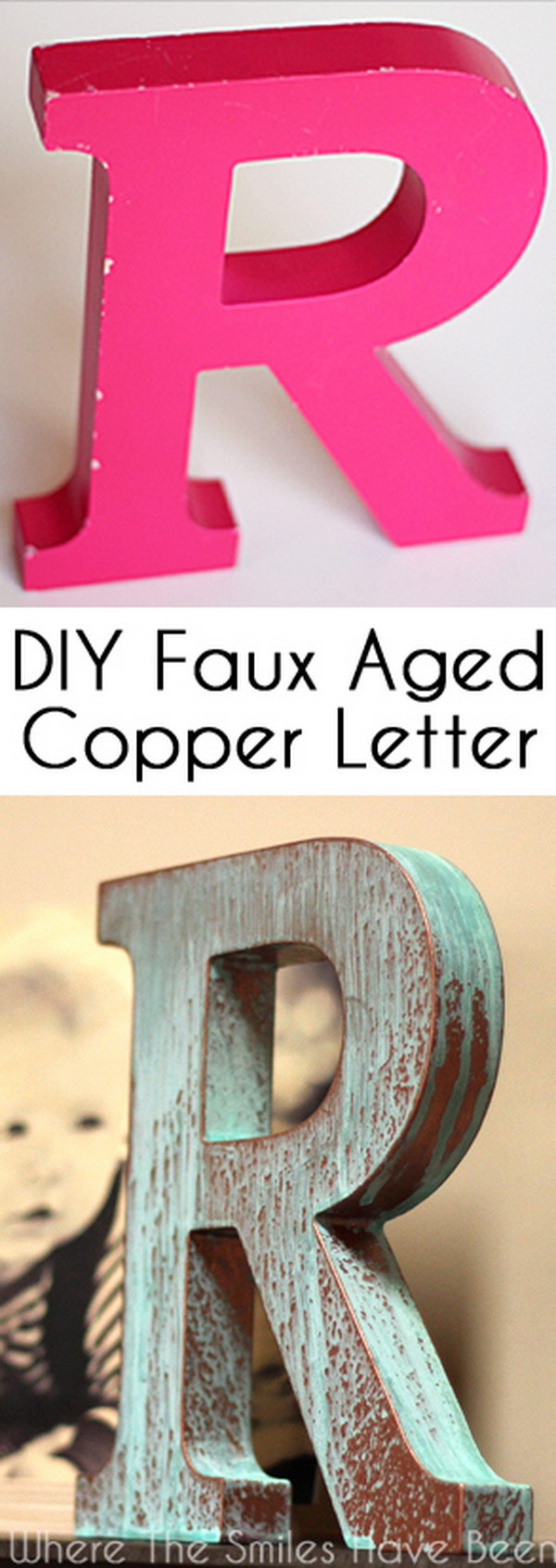 DIY Faux Copper Letter Aged with Blue Patina