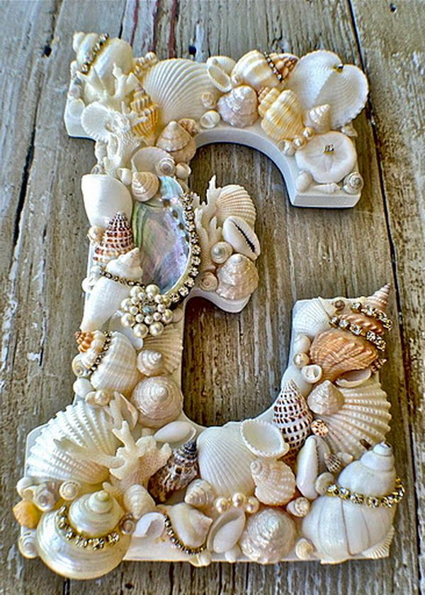 DIY Seashell Covered Letter