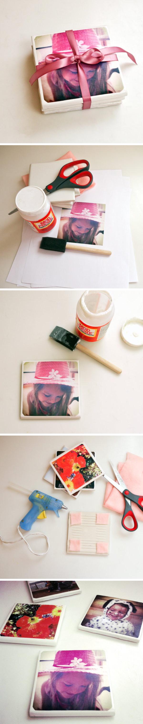DIY Tile Photo Coasters.