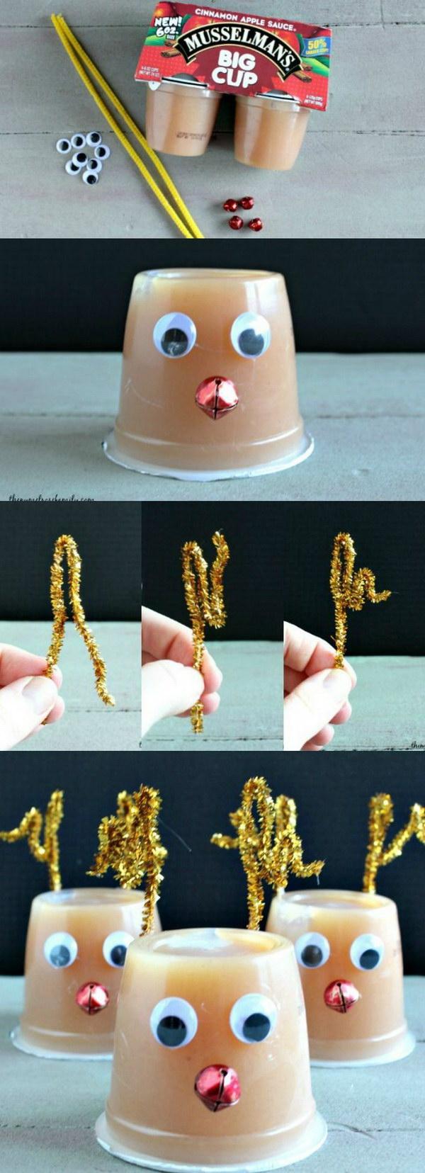 Unique Rudolph Applesauce Treats for Kids.