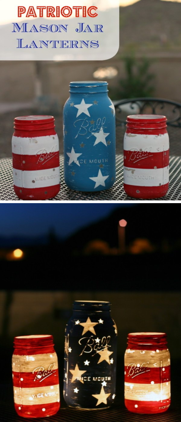 Patriotic Mason Jar Lanterns.