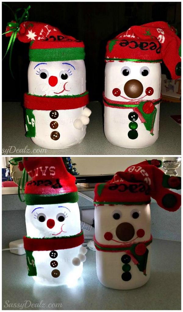 DIY Snowman Mason Jar.