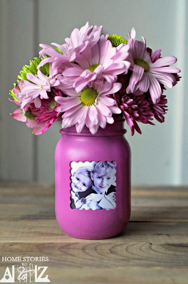DIY Mason Jar Picture Frame Vase.