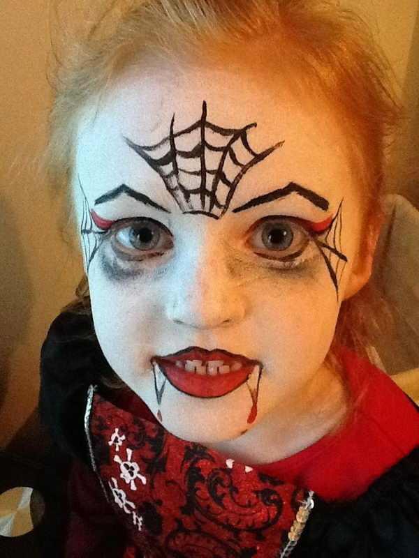 easy girls vampire face painting - Halloween Easy Face Painting