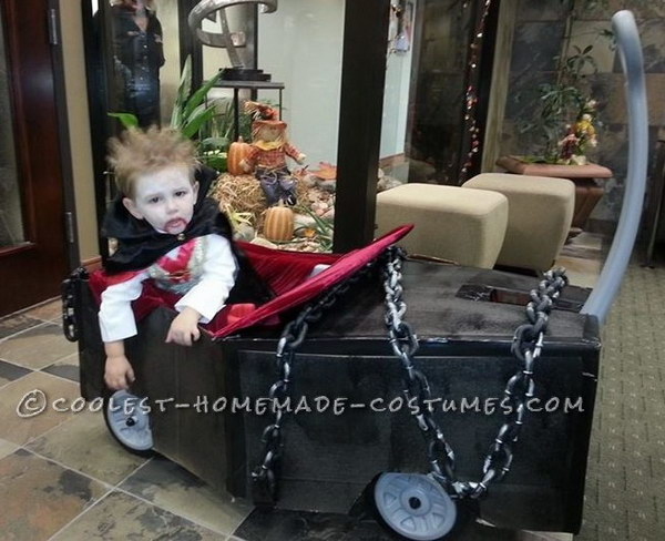 Coolest Vampire Costume with Coffin Wagon.
