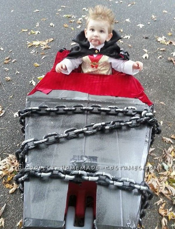 Coolest Vampire Costume with Coffin Wagon. You can also add some plastic chains on top of the wagon for appeal!