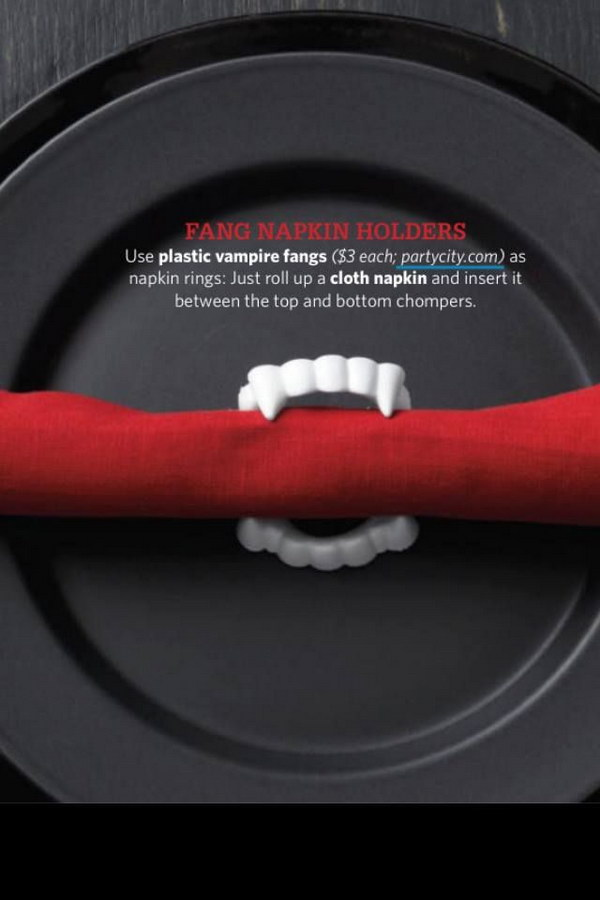 DIY Vampire Fang Napkin Holder. This adorable idea will give your party that extra something that will make your guests scream for more!