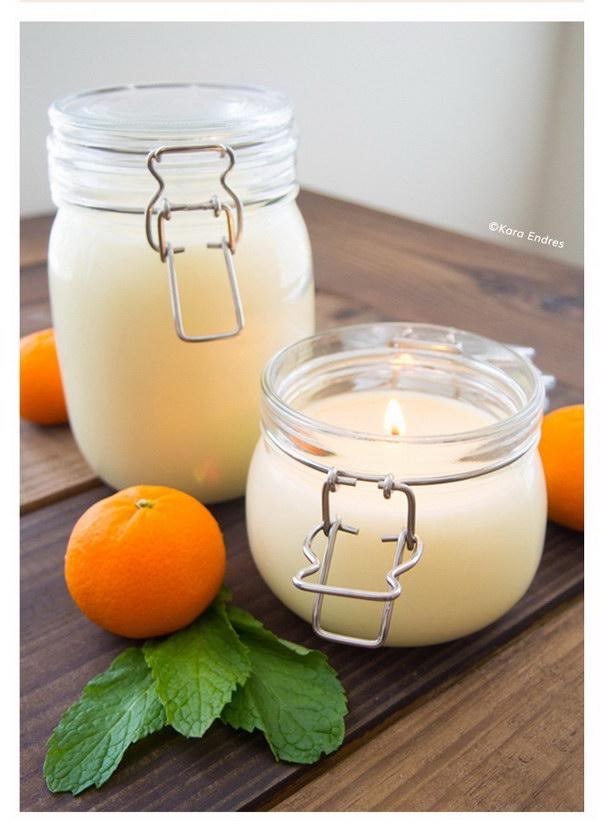 DIY Orange Mint Coconut Wax Candle