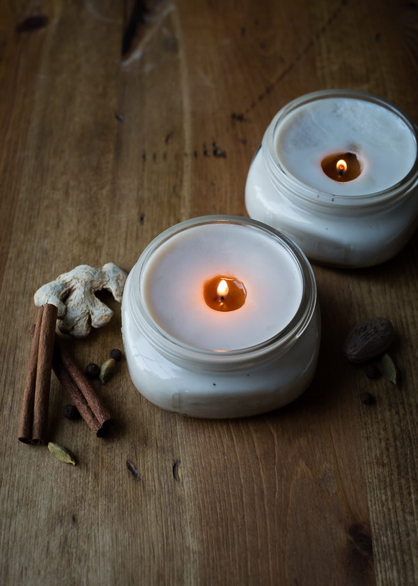 DIY Pretty Chai Candles in Canning Jars. These DIY chai candles in canning jars are a pretty, natural way to bring some autumn cheer inside. They are delicately scented with baking spices – ginger, cardamom, cinnamon and nutmeg – that will warm your home.