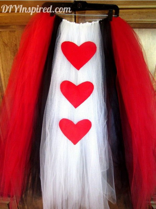 diy queen of hearts tutu skirt costume